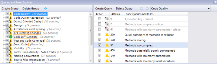 Queries and Rules Explorer